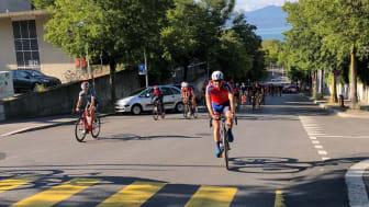 Gustav Iden testet sykleløypa sammen med resten av laget og de andre konkurrentene, dagen før konkurransen