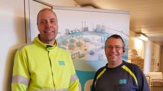 Patrik och Nils-Arne är två av ONE Nordics montörer i Blekinge som arbetar för Fortifikationsverket i Kallinge.