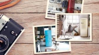 Du kan vælge dit ikoniske køleskab i en række romantiske, chikke og funky farver.