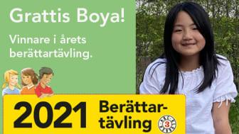Boya Yan från Kyrkskolan i Täby knep 1:a priset i ABC-klubbens berättartävling