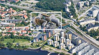 Östra Station växer fram intill tågstationen Umeå Östra_Flygfoto_White.png