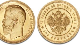Kejser Nikolaj II's sjældne 37 1/2 rubel, vurderet til 600.000-800.000 kr.