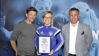 Jeanette Engström, Åby IF. Här tillsammans med Jesper Blomqvist och Mikael Tykesson.