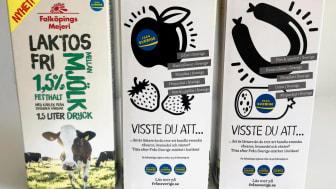 På baksidorna på Falköpings Mejeri nya laktosfria mjölkdryck, under varumärkena Falköpings Mejeri och Grådö Mejeri, kan man läsa om Från Sverige-märkning på 6 olika baksidor.
