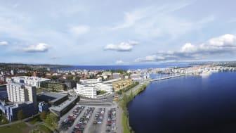Vy över Jönköping med campus i mitten