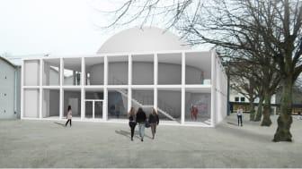 Tekniska museet i Stockholm får en helt ny tillbyggnad. Skissbild från ALBERT FRANCE-LANORD (A)RCHITECTS