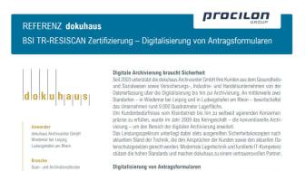 procilon Referenzblatt | dokuhaus Archivcenter GmbH - BSI TR-RESISCAN Zertifizierung - Digitalisierung von Antragsformularen