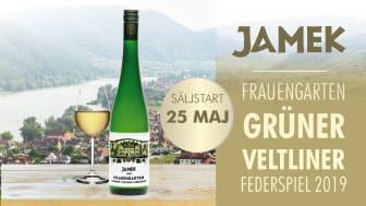 Nu lanseras den nya årgången av Jamek Frauengarten Grüner Veltliner Federspiel 2019. Ett friskt och fruktigt vin med toner av gröna äpplen, vitpeppar, aprikos och grapefrukt.