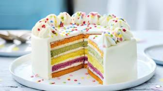 Rainbow cake, inga tillsatser, naturliga färgämnen. Och ingen palmolja!