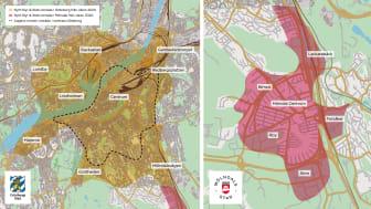 Kartan visar var nästa generation av lånecykelsystemet Styr & Ställ kommer att finnas i Göteborg och Mölndal från  våren 2020. Karta: Göteborgs Stad