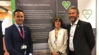 Ellen Behrens from Orkla together with Christoffer Back Vestli, Norwegian Delegate to the Basel Convention COP14 and Kjell Olav Maldum, CEO of Infinitum