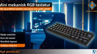 DELTACO GAMING præsenterer stolt det længe ventede mini mekaniske RGB-tastatur, GAM-075, som i modsætning til andre gaming tastaturer er kompakt og pladsbesparende.