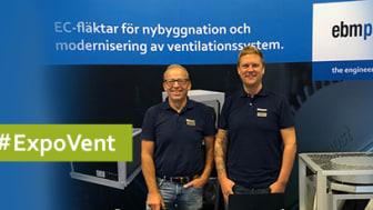 Göran Andersson och Freddie Ahlström representerade ebm-papst AB på ExpoVent-mässan i Norrland