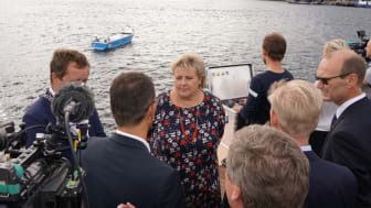 Prime Minister of Norway Erna Solberg was present for the signing at the ship yard in Brevik, Norway today