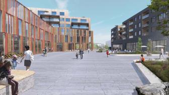 Skisse av det nye tettstedet i Fjerdingby. Illustrasjon: Dyrvik Arkitekter AS