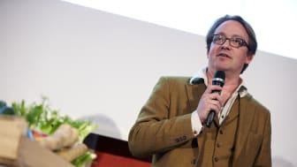 Jens Linder föreläste om grisens historia på tallriken på Svenskt Kötts pressträff om svensk gris