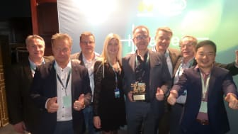Fiberdata från Gävle vinnare av Huaweis partnerpris Gulddraken i kategorin Service Capability Partner of the Year. (Foto: Anna Idbrant/Huawei)