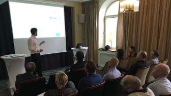Edvin Resebo, Alfred Nobel Science Park pratar inför deltagarna på SYF:s årsmöte i Jönköping.