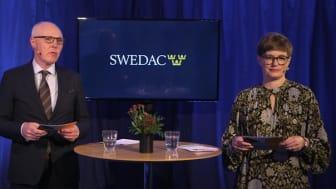 Peter Kronvall, kommunikationschef på Swedac, och Anna Werner, presskontakt på Swedac modererade webinaret.