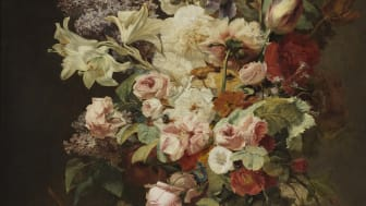 Antoine Berjon, Stilleben med blomsteruppsättning och fruktkorg, ca 1800. Foto: Cecilia Heisser/Nationalmuseum.