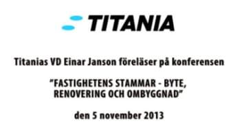 Titanias VD Einar Jansons föreläsning om stambyten med kvarboende