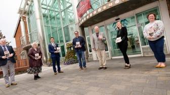 L-R: George Elliot; Helen Rankin (Chair); Mayor Cllr Johnston; Sean MacIntyre (author), John Hulme, Shirin Murphy and Laura Patrick, (Carrickfergus Museum)