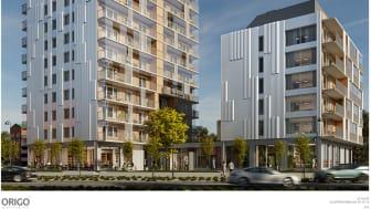 På byggnadsnämnden väntas beslut om bygglov för flerbostadshus på Herrgärdet. Totalt handlar det om 90 nya lägenheter i två byggnader. Illustration: Origo Arkitekter