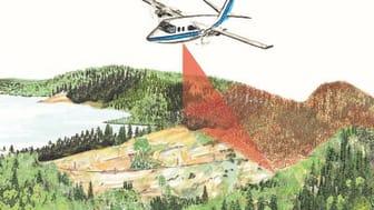 Laserskanning över skogsmark. (© Skogsstyrelsen)