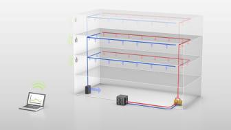 Energy Saves värmepumpslösning, Temporary Climate, torkar och avfuktar byggnaden på samma gång via befintliga från/tilluftskanaler, dessutom kan processen övervakas via webben
