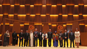 Winners of Al-Sumait Prizes for 2015 and 2016 with His Highness the Emir of Kuwait and others at Awards Ceremony in Malabo