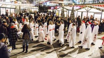 #Stockholmsjul 2015 Sergels torg Luciatåg