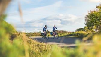 Kattegattleden, Sveriges första nationella cykelled, går mellan Helsingborg och Göteborg, hela vägen genom Halland. Foto: Oskar Albrektsson