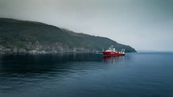 The MV Fugro Galaxy outside Green Mountain's data center DC1-Stavanger.