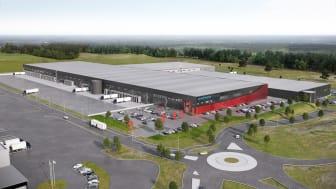 Postnord TPL:s nya logistikcenter i Airport City Göteborg. Visionsbild: Arkitekterna Krook & Tjäder