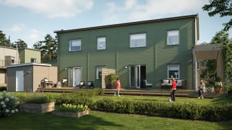 Illustration av gårdssida med altan & gräsmatta samt gemensamma ytor, BoKlok Hjälmen i södra Hemlingby, Gävle.