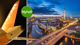 easyJet flygplan samt vy över Berlin, Tyskland i skymning. Foto till vänster: Frida Weberg. Foto till höger: Shutterstock.
