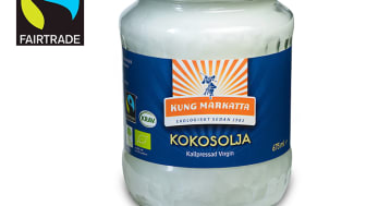 Kung Markattas kallpressade kokosolja 675 ml har blivit Fairtrade-märkt!