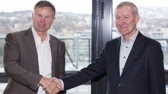 Øystein Moan, CEO i Visma og Per Hanstad, adm. direktør i Den norske Revisorforening