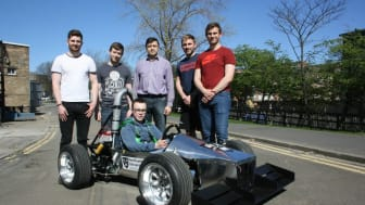 Students from Northumbria's Mechanical, Automotive and Electrical Engineering programmes, with Dr Ulugbek Azim​ov (centre), Programme Leader in Automotive Engine​ering.