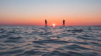 Stand Upp Paddle längs den halländska kusten - en populär utomhusaktivitet.