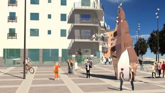 Skulpturen Solsnäckan kommer att få en framträdande plats i nya stadsdelen Norrtälje Hamn. Tisdagen den 11 juni klockan 11.30 invigs konstverket på Sjötullstorget.