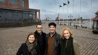 Christina Björklund, vd GöteborgsOperan, Henning Ruhe, konstnärlig chef Opera/drama, Simon Ljungman och Victoria Brattström. Foto: Sören Håkanlind