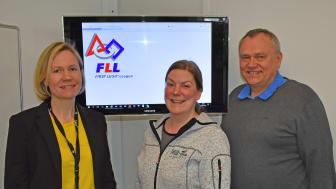 Svein Arne Rakstang (Eidsiva Nett), Anne Kristin Kvitle (First Lego League) og Anne Sagstuen Nysæther (Eidsiva Nett).