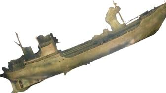 Bild av vraket Lindesnäs på havsbotten. Framtagen genom fotogrammetri.