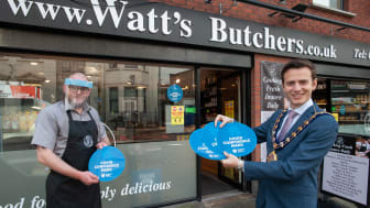 Connor from Watt's Butchers in Larne with MEABC Mayor, Councillor Peter Johnston