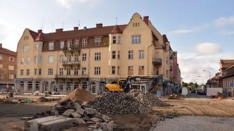 Arbetet med Amelies plats går framåt och i december kommer du att kunna ta del av ett mer välkomnande centrum. Foto: Ida Forsberg