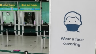 'Wear a face covering' is the message at all stations, including this one, at East Croydon