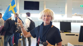 Ann Nääs is boarding passengers at the inaugural Ryanair flight to Budapest from Göteborg Landvetter Airport. Photo: Louise Arvidsson.