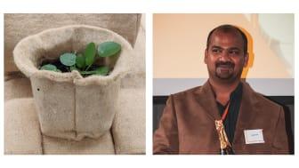 Den vänstra bilden visar en prototyp av produkten och den högra är på Geejesh Kumar.
