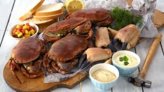 Krabbe naturell med tre sauser